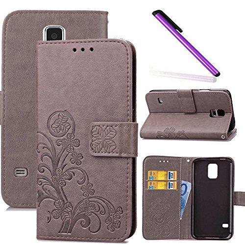 COTDINFOR Galaxy S5 Funda trébol Cierre Magnético Billetera con Tapa para Tarjetas de Cárcasa Elegante Retro Suave PU Cuero Caso Protectora Case para Samsung Galaxy S5 Clover Gray SD