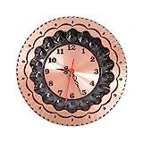 Orologio a piatto in rame lucido da parete 20 cm rustico arredo