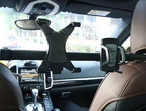 WAOBE Auto Tablet Rückenkissen Doppel-Halterung Kopf Handset Bracket Rear Seat Universal Tablet Halterung