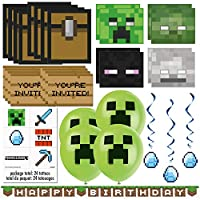Minecraft Party Favors & Decorations Bundle - Officially Licensed Birthday Party Supplies by Unique   Minecraft Invitations, Masks, Tattoos, Loot Bags, Banner, Balloons & Hanging Swirls