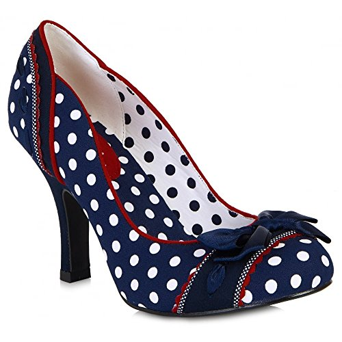 LADIES RUBY SHOO AMY NAVY POLKA DOT 1950S VINTAGE ROCKABILLY RETRO SHOES-UK 5 (EU (1950 Schuhe)