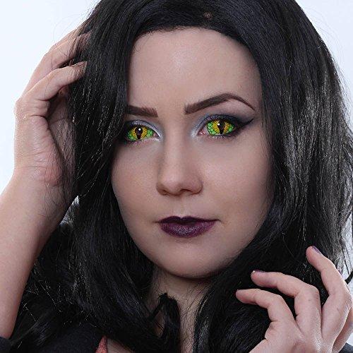 ragon Sclera Kontaktlinsen Crazy Fun Motiv Halloween grün green 2 Linsen 1 Kontaktlinsenbehälter 1 Pflegemittel 50ml ()