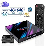 Android 9.0 TV Box 4GB RAM 64GB ROM, H96 Max Android TV Box RK3318 Quad-Core 64bits Dual-WiFi 2.4G/5G,3D Ultra HD HDMI 2.0 4K H.265 USB 2.0/3.0 BT 4.0 Smart TV Box avec Mini-Clavier