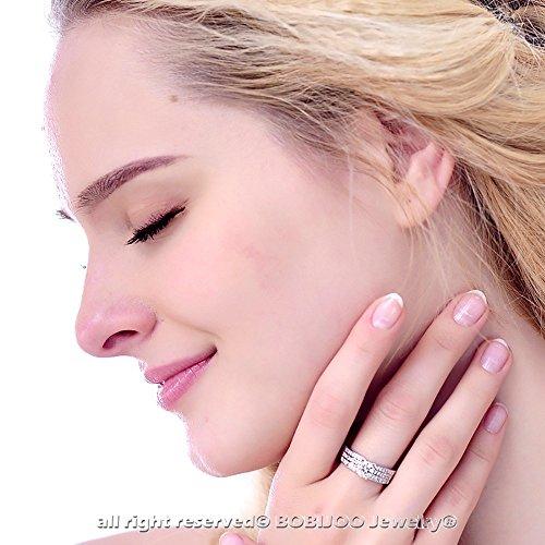 BOBIJOO Jewelry - Ensemble Femme Diamants Mariage Parure Collier Boucles d'Oreilles Bague Argenté - 53 (6 US), Argenté Argenté