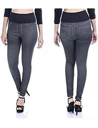 Timbre Women'd Denim Style Stretchable Jeggings (Free Size, Black, Denimjeg_Black)