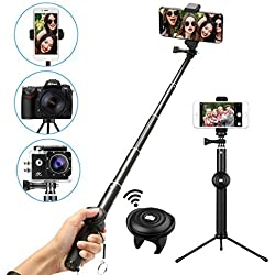 Bastone Selfie Bluetooth, M.Way Monopod Estensibile 25cm- 92cm Antiscivolo Portatile Treppiedi Universal per iPhone,Xiaomi,Huawei,Oneplus,Sony,Samsung,Gopro,Canon,Panasonic,Nikon,Fotocamera Digitale
