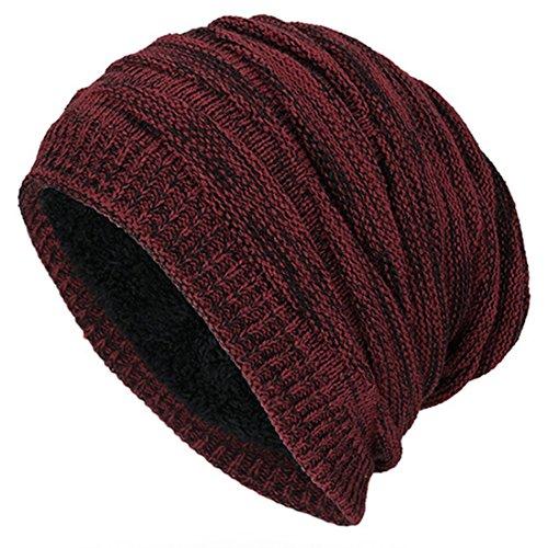 Kuyou Winter Beanie Mütze Slouch Strickmütze mit warmem Fleece Innenfutter (Burgund)
