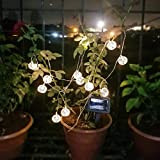 #10: Bulfyss Solar Powered Outdoor LED String Lights, Waterproof Solar Powered Decorative LED Fairy Lights for Outdoor Outside Patio Garden Yard Decorating (12 Crystal Balls)