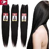 """Tissage Bresilien en Lot de 3 Cheveux Naturel Lisse Cheveux Humains Vierges 300g - Extensions Capillaires Brazilian Remy Virgin Hair STRAIGHT - #1B Noir Naturel - 24""""26""""28"""""""