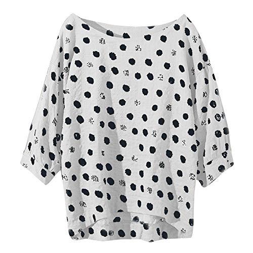 Baumwoll-gaze-big-shirt (Tooth Elegante Damen Casual Plus Größe Baumwolle Tops T Shirt Vintage Boho Floral Lose Bluse 2019(Weiß,XXXL))