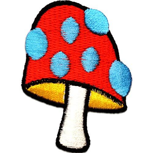 Aufnäher/Bügelbild - Pilz Gemüse Super Mario - blau/rot - 4,2x6cm - by catch-the-patch® Patch Aufbügler Applikationen zum aufbügeln Applikation Patches Flicken