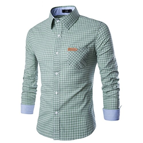 Men's Fashion Contrast Color Collar Long Sleeve Slim Fit Shirts green