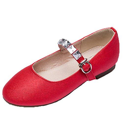 Ohmais Enfants Filles Chaussure cérémonie Ballerines à bride Fête Demoiselle d'honneur Mariage Escarpin plat Babies Rouge