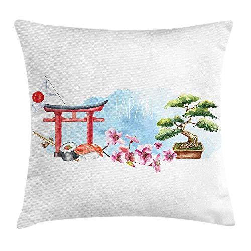 Cherry-gewebe-sofa (Dekokissen KissenbezugTorii-Tor-Bonsai-Baum Cherry Blossom Sushi Roll Chopstick und Japan-Flaggen-Aquarelle Pillow Cushion Cover Pillowcase,45x45 cm)