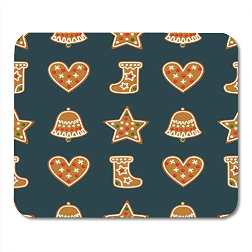 ads, Gaming Mouse Pad Christmas Gingerbread Cookies Bell Xmas Stocking Star Heart Winter 11.8