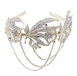BABEYOND Damen 1920s Flapper Stirnband Inspiriert von Great Gatsby Damen Accessoires 20er Art Deco Retro Braut Haarschmuck (Gold)