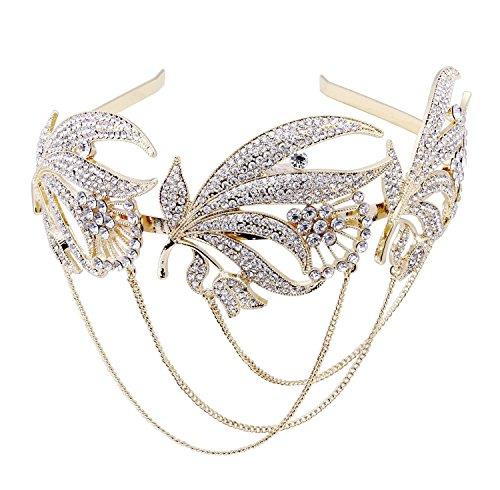 BABEYOND Damen 1920s Flapper Stirnband Inspiriert von Great Gatsby Damen Accessoires 20er Art Deco Retro Braut Haarschmuck (Gold) (Art Deco Stil Modeschmuck)