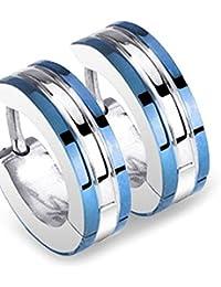 1 paire de boucles d'oreilles créoles en acier inoxydable Double bleu
