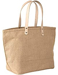 "Large Jute Tote Bag With Leather Handles Size 19""W X 14""H X 6""Gusset In Natural Color - CarryGreen Bag"