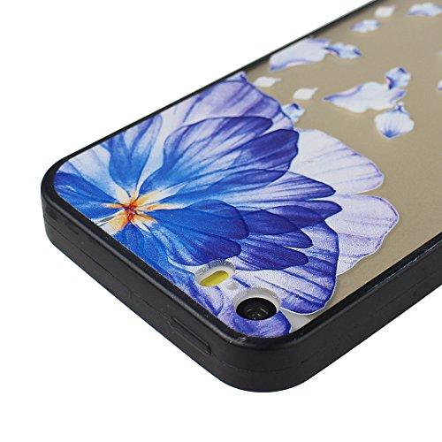 iPhone SE/5/5S 2 in 1 Hybrid Tasche, iPhone SE Hülle Silikon, iPhone 5S Hülle Silikon, iPhone 5 Hülle Silikon, Moon mood® Soft TPU + Hart PC Case [ 2 in 1] Relief Schutzhülle für Apple iPhone 5/5S/SE  Stil - 6