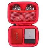 co2CREA Hart Reise Schutz Hülle Etui Tasche für Samsung Portable SSD T3 T5 250GB /500GB /1TB /2TB External Solid State Drive (Rot/Für 2 SSD)