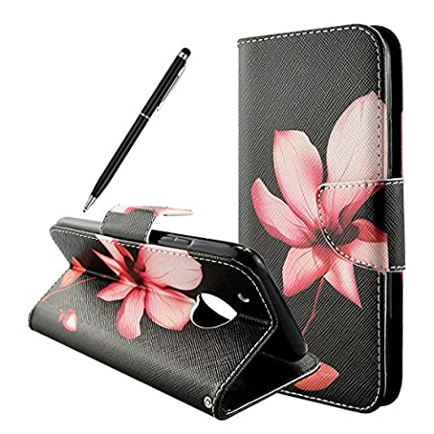 Lenovo Moto G5 Plus Case, Fraelc Moto G5 Plus Flip Leather Case Foldable Wallet Notebook Style Magnetic Folio Stand Phone Cover with Multi-Card Slots Holders for Motorola Moto G5 Plus (Lotus Flower Design)