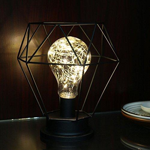 Elegante lámpara de Mesa Estilo Retro de Alambre de Cobre para...
