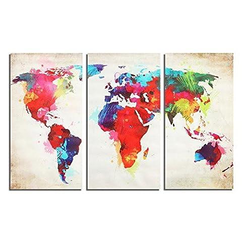 La Maison Et Le Monde - Bazaar 3pcs carte colorée du monde frameless