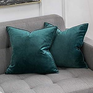 MIULEE 2er Set Samt Kissenbezug Flansch Kissenhülle Dekorative Dekokissen mit Verstecktem Reißverschluss Sofa Schlafzimmer Auto 16 x 16 Inch 40 x 40 cm Malachitgrün
