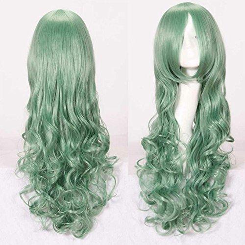 e Kunsthaar Lang Gelockt Welle Wigs Sexy lange gewellte geschichteten Cosplay Requisiten(Mehrere Farben) (Minze grün) (Puppe Halloween Kostüm, Männlich)
