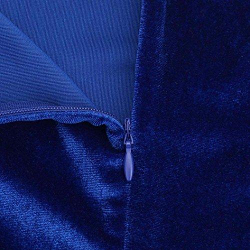 Amlaiworld Damen Um den Hals samt Kleid dreiviertel Ärmel Kleid Blau
