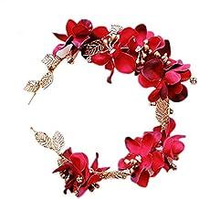 Miya Cinta para el pelo hecha a mano, atractivo diseño de flores con perlas de cristal, estilo vintage, para novia, bodas, fiestas juveniles, color rojo y dorado