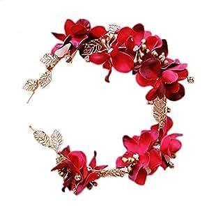 Miya 1 pz elegante cerchietto MEGA, realizzato a fascia, glamour per capelli, bellissimi fiori in cristallo, design vintage, da sposa, festa, cresima, colore rosso e oro