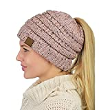Ehpow Damen Plain Ponytail Messy Bun Gerippte Winter Beanie Hut Cap Hair Hairband (Rosa)