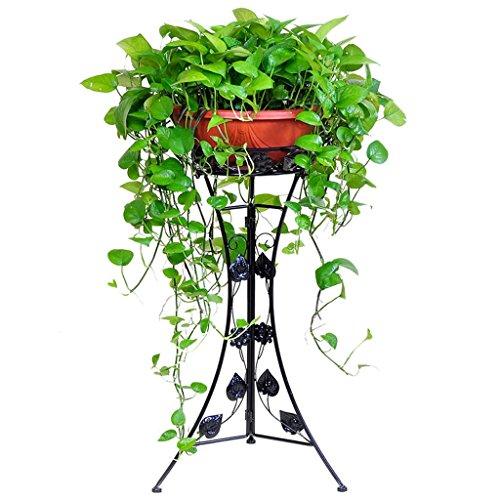 CS Type de plancher de support de fleur de plaque simple de fer Salon d'intérieur Épaisseur de fleur de plante de plante verte de Chlorophytum (Color : Black, Size : S)