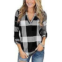 TUDUZ Blouse Women's Blouse Roll Up Long Sleeve Tops V Neck Button Plaid Lattice Print Shirt M=UK(12) Black
