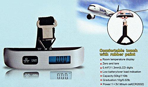 Cuelga la balanza Digital LCD Escalas para maletas de viaje y de equipaje, con el termómetro.