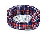 Petface kariert Oval Hundebett Schlafplatz mit Kunstfell Fleece Kissen, mittel, blau/rot