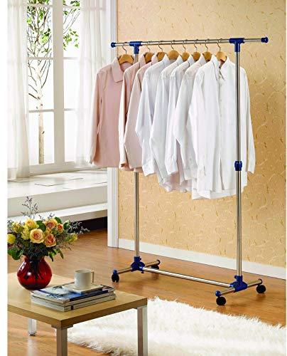Kronenburg Stabiler rollbarer Kleiderständer Garderobenständer - Kleiderstange ausziehbar