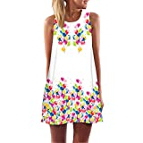 MRULIC Damen Lovely Mini Floral Printing A-Linie Kleider Beach Dress Vintage Boho Frauen Sommer Ärmelloses Party Kleide