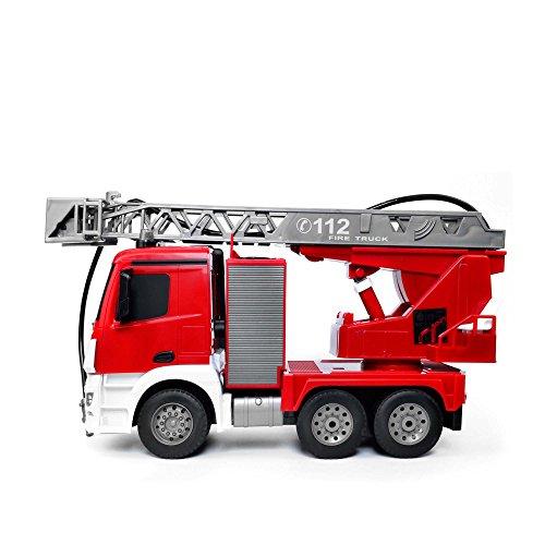 RC Auto kaufen LKW Bild 2: Mercedes-Benz Antos - original RC ferngesteuerter Feuerwehrwagen mit der neuesten 2.4GHz-Technik, wiederaufladbarer Akku, steuerbarer Rettungsleiter, Sound- und LED-Effekte, Komplett-Set inkl. Akku und Ladegerät*