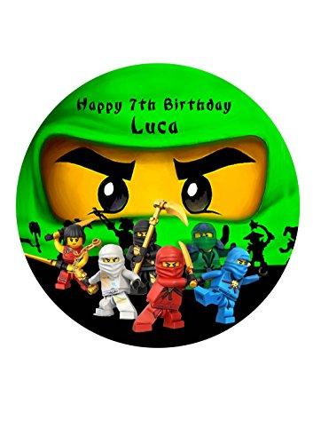 Personalisierbare Ninjago-Kuchendekoration aus Zuckerpapier, 19 cm, 16,5 cm, 14cm Ninja Lloyd, Grün, 19 cm
