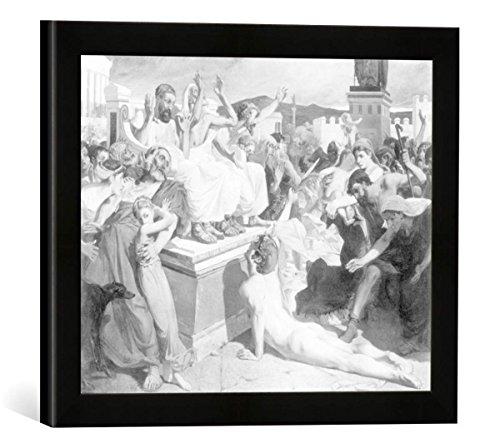 Gerahmtes Bild von Luc-Oliver Merson Ankunft des Siegesboten aus Marathon in Athen, Kunstdruck im hochwertigen handgefertigten Bilder-Rahmen, 40x30 cm, Schwarz matt (Bilderrahmen Marathon)