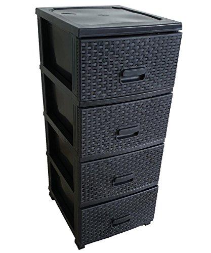Kaiser-Handel Schubladenschrank Rollcontainer in Rattan-Optik aus Kunststoff 4 Schubladen Schrank Stecksystem (Schwarz)