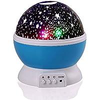 lederTEK Luce notturna a LED con cavo USB, a batteria, motivo stelle, 4 LED, 360 (Luna 2 Luce)