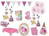 XXL Party Deko Set 1.Geburtstag Elefant rosa Kindergeburtstag für 12 Personen rosa Mädchen Party Komplett Set