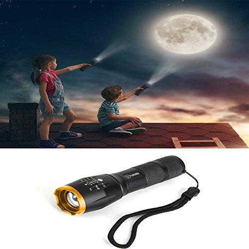 LED Taschenlampe, Vander Taktische Taschenlampe Outdoor Handlampe Wasserfest XM-L T6 Wiederaufladbar Taschenlampen Extrem Super hell 5000 Lumen aufladbar , 5 Modi, Wandern, Mit 2 x 18650 Batterie Und Adapter dabei