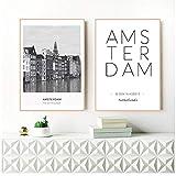 ad Paesi Bassi Amsterdam Paesaggio Foto Tela Pittura Foto Arte Parete, Città Poster Amsterdam Coordinate Stampe su tela-40x60cmx2 Pezzi -Nessuna Cornice