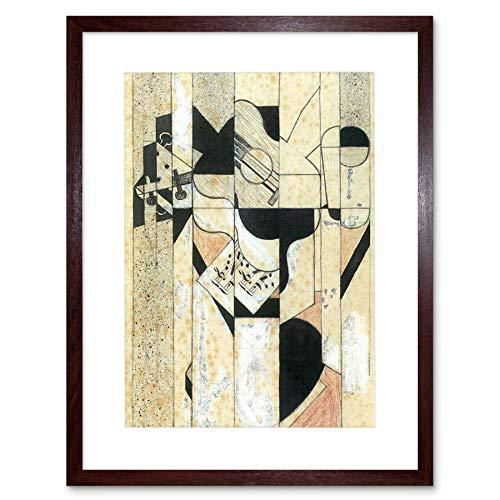 JUAN GRIS GUITAR GLASS OLD MASTER BLACK FRAME FRAMED ART PRINT PICTURE B12X836