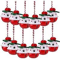 Victor's Workshop Juego de 12 Christmas Jingle Bells, 8cm Ornamento de Navidad de Metal con patrón de Puntos Colgante de decoración del árbol de Navidad - Rojo/Verde / Blanco
